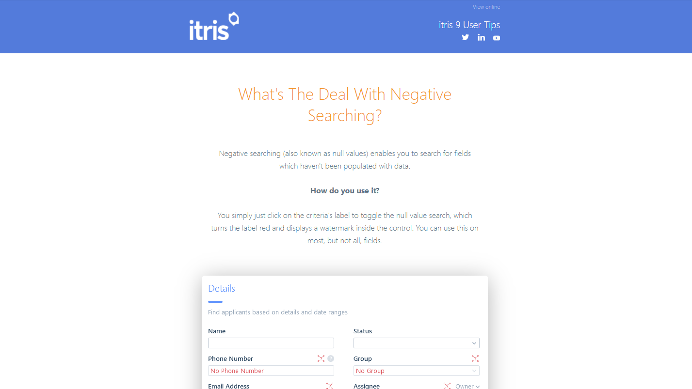 itris 9 user tips mailshot